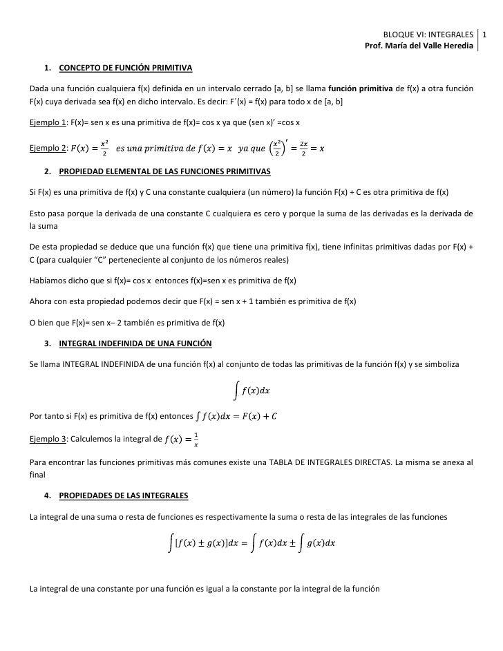 CONCEPTO DE FUNCIÓN PRIMITIVA<br />Dada una función cualquiera f(x) definida en un intervalo cerrado [a, b] se llama funci...