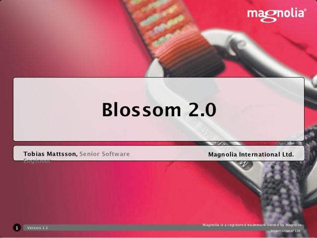 Blossom 2.0    Tobias Mattsson, Senior Software     Magnolia International Ltd.    Engineer                               ...