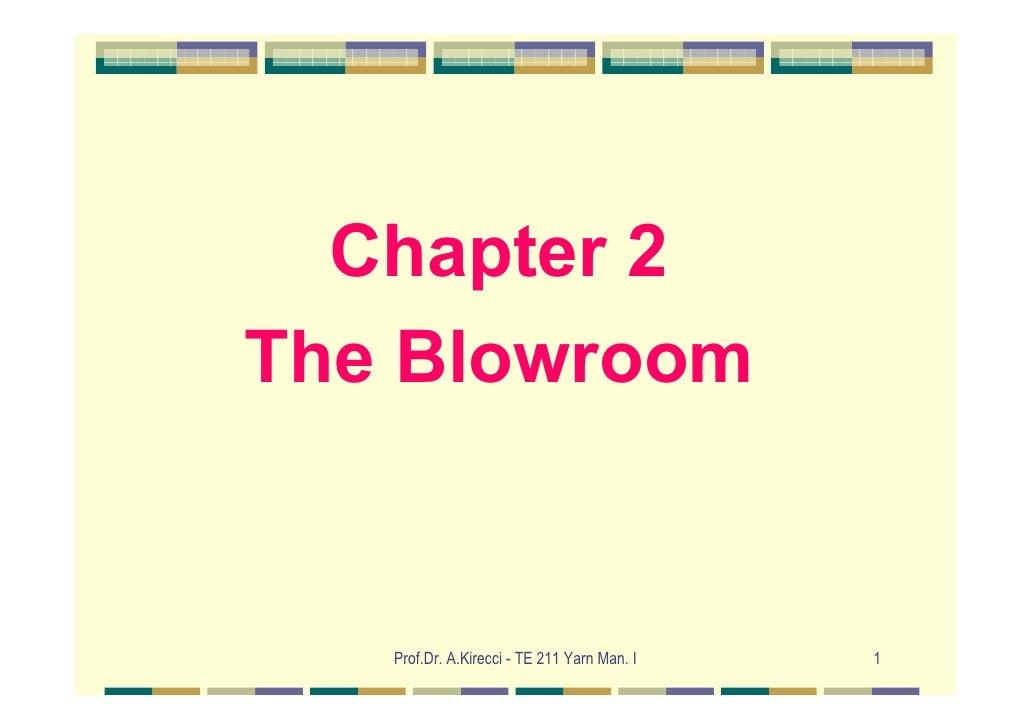 Chapter 2The Blowroom   Prof.Dr. A.Kirecci - TE 211 Yarn Man. I   1