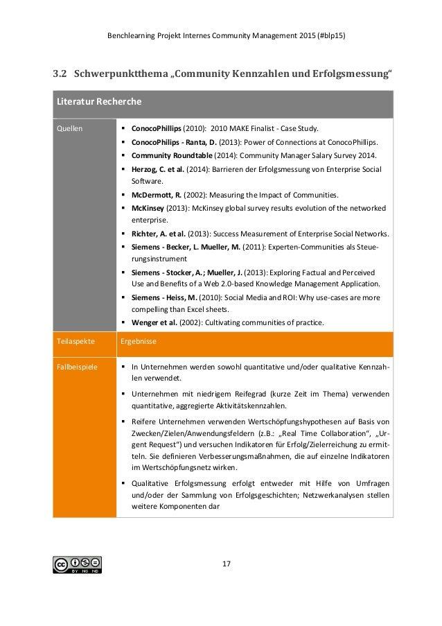 """Benchlearning Projekt Internes Community Management 2015 (#blp15) 17 3.2 Schwerpunktthema """"Community Kennzahlen und Erfolg..."""
