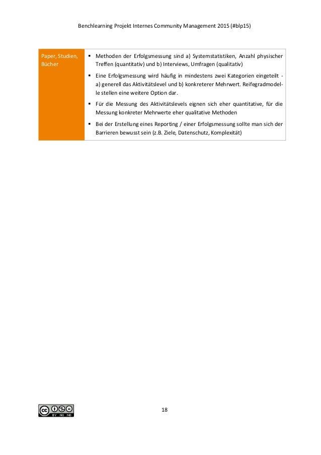 Benchlearning Projekt Internes Community Management 2015 (#blp15) 18 Paper, Studien, Bücher  Methoden der Erfolgsmessung ...