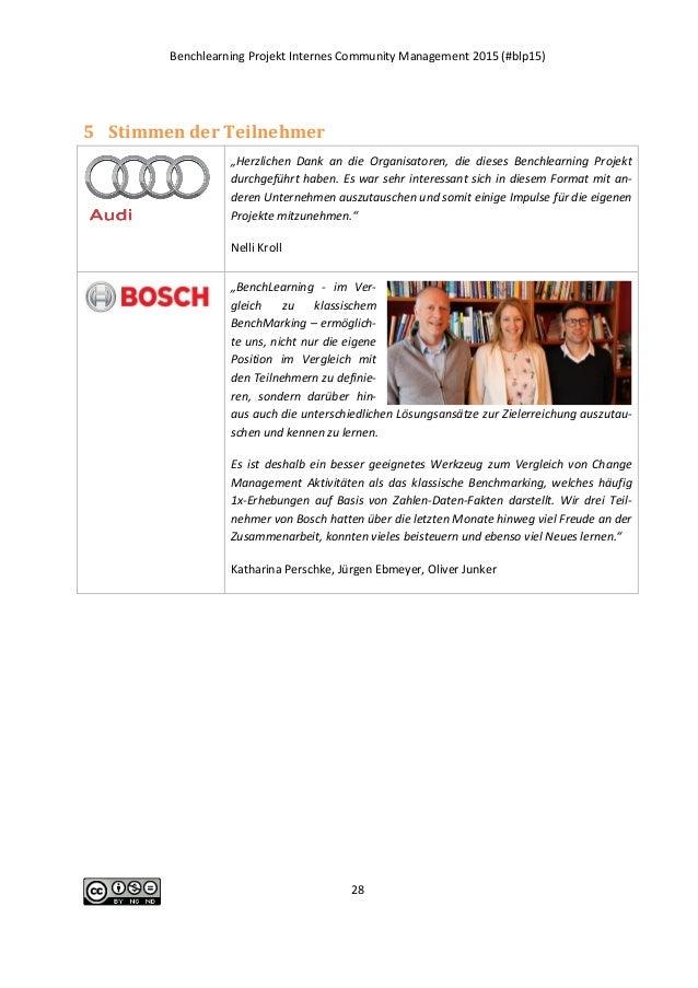 """Benchlearning Projekt Internes Community Management 2015 (#blp15) 28 5 Stimmen der Teilnehmer """"Herzlichen Dank an die Orga..."""