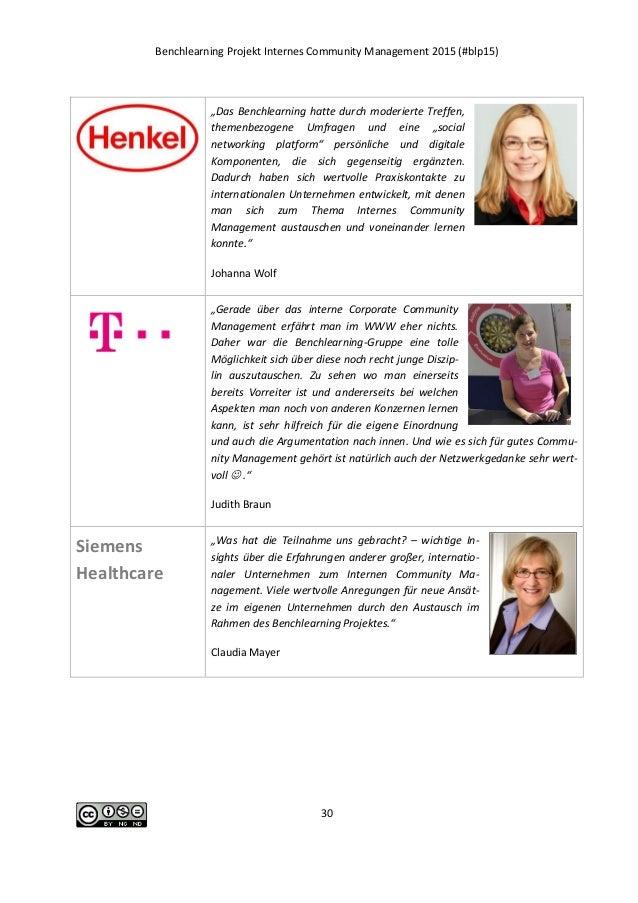 "Benchlearning Projekt Internes Community Management 2015 (#blp15) 30 ""Das Benchlearning hatte durch moderierte Treffen, th..."
