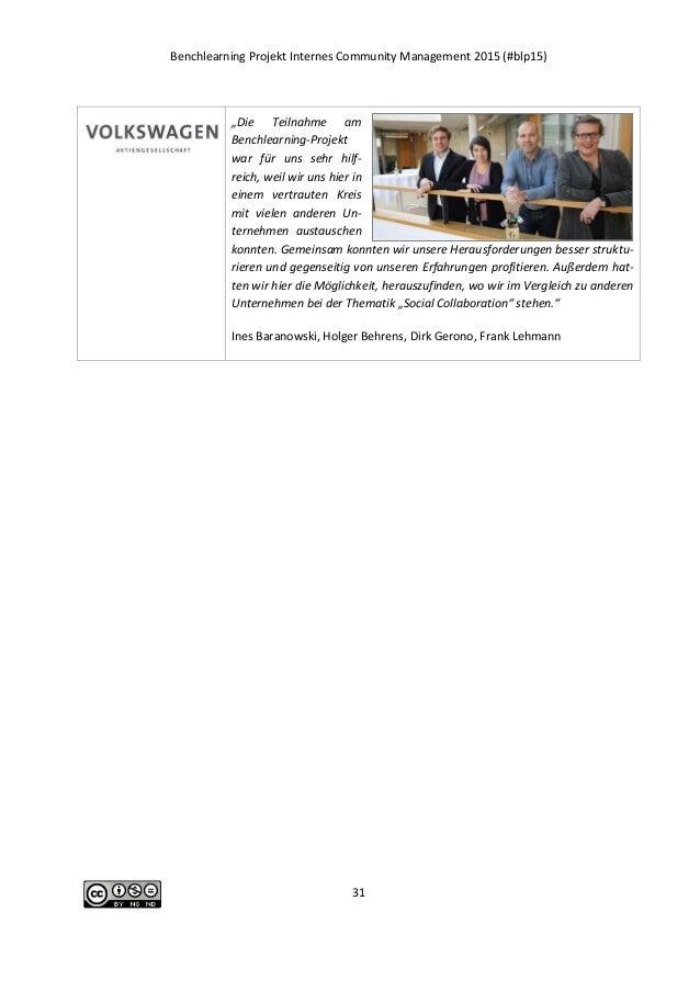 "Benchlearning Projekt Internes Community Management 2015 (#blp15) 31 ""Die Teilnahme am Benchlearning-Projekt war für uns s..."