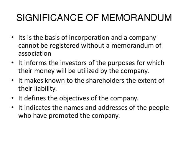 significance of memorandum of association