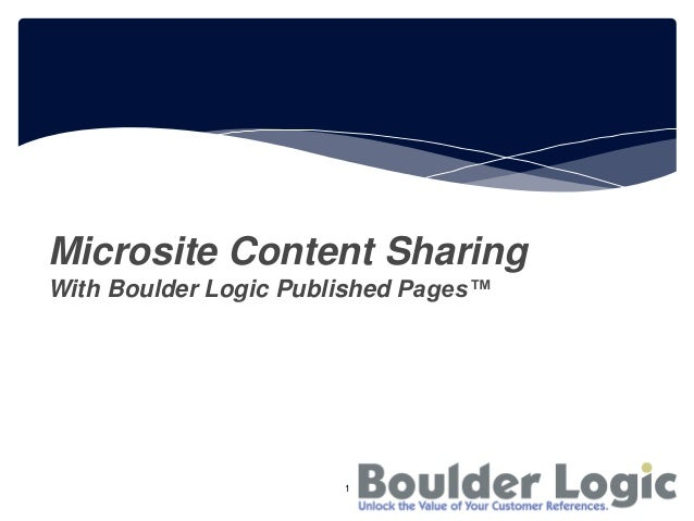 Microsite Content SharingWith Boulder Logic Published Pages™1
