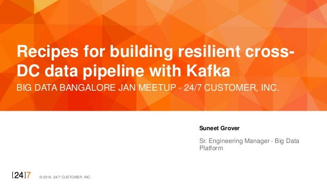 © 2016 24/7 CUSTOMER, INC. BIG DATA BANGALORE JAN MEETUP - 24/7 CUSTOMER, INC. Recipes for building resilient cross- DC da...