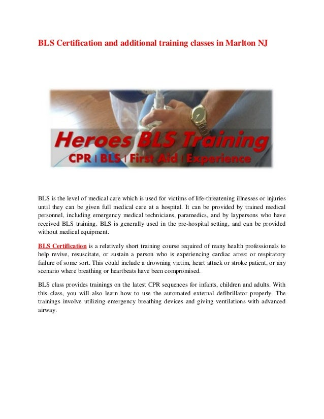 Bls Certification And Additional Training Classes In Marlton Nj