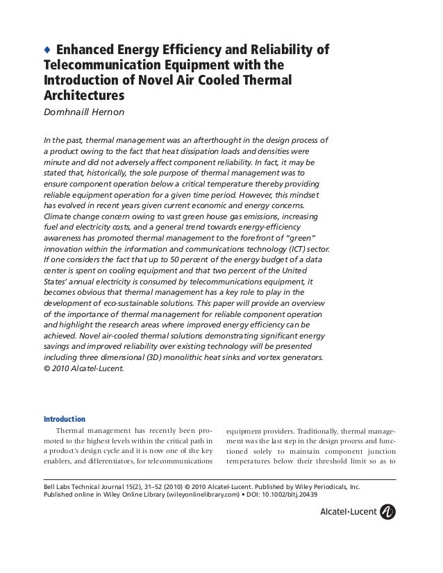 ◆ Enhanced Energy Efficiency and Reliability of Telecommunication Equipment with the Introduction of Novel Air Cooled Therm...