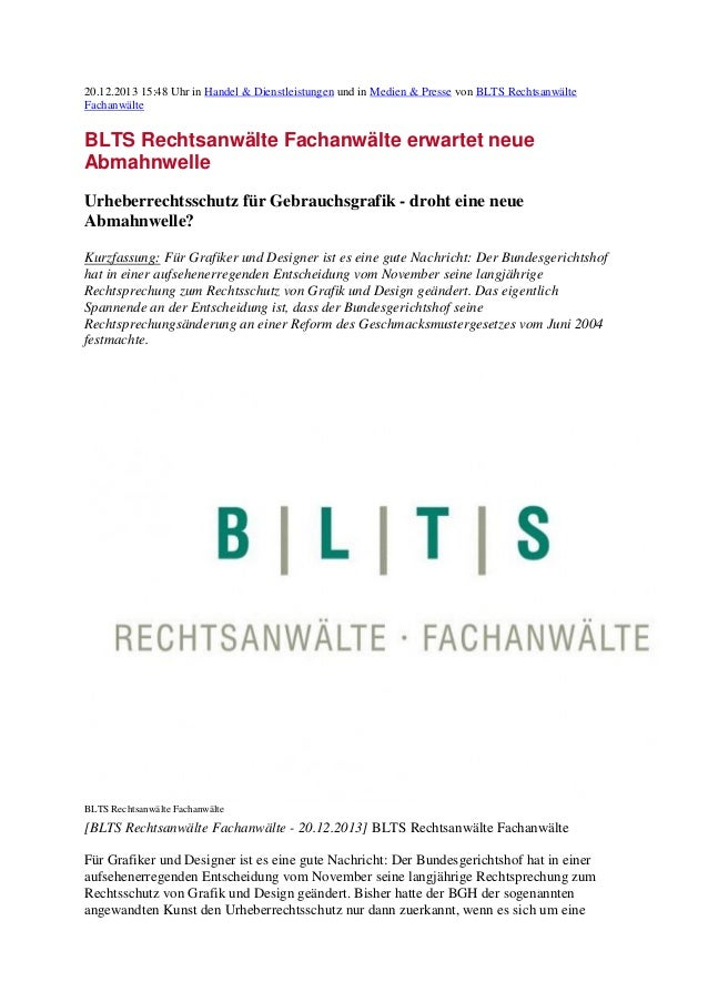 20.12.2013 15:48 Uhr in Handel & Dienstleistungen und in Medien & Presse von BLTS Rechtsanwälte Fachanwälte  BLTS Rechtsan...