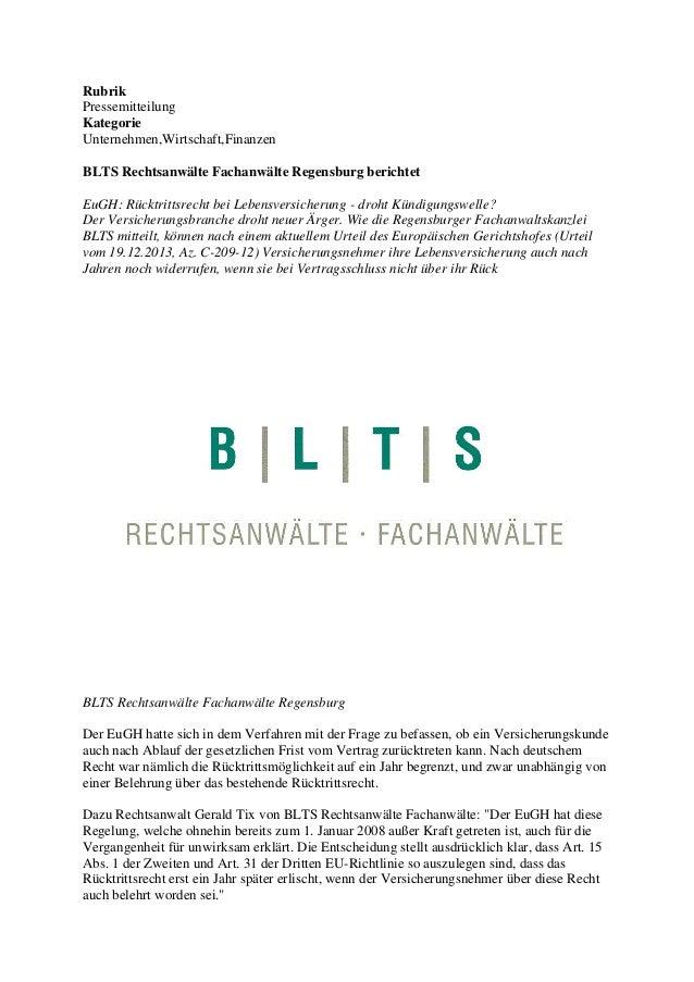 Rubrik Pressemitteilung Kategorie Unternehmen,Wirtschaft,Finanzen BLTS Rechtsanwälte Fachanwälte Regensburg berichtet EuGH...