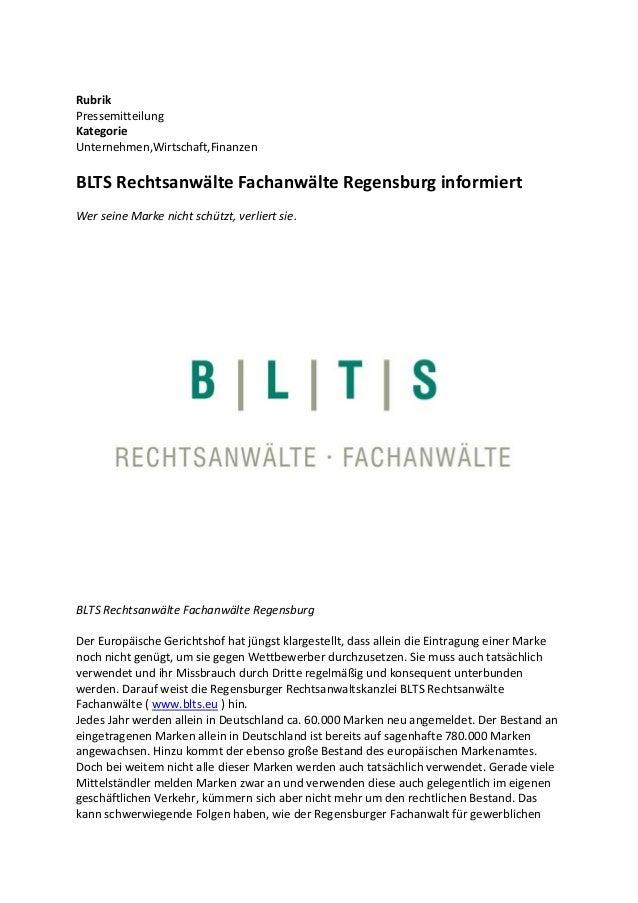 Rubrik Pressemitteilung Kategorie Unternehmen,Wirtschaft,Finanzen BLTS Rechtsanwälte Fachanwälte Regensburg informiert Wer...