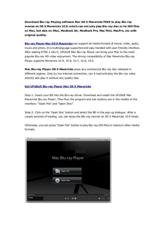 Blu ray media player for mac os x mavericks play bd disc on mac 10 9