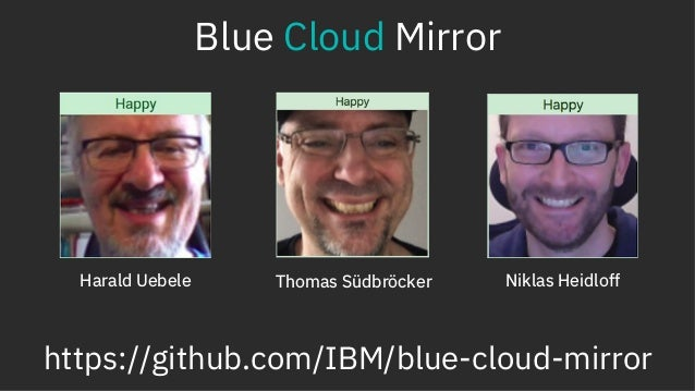 Blue Cloud Mirror https://github.com/IBM/blue-cloud-mirror Harald Uebele Thomas Südbröcker Niklas Heidloff