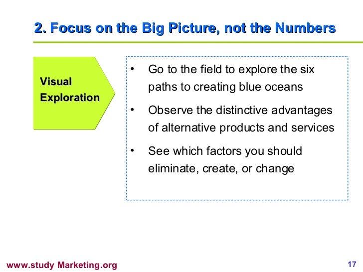 2. Focus on the Big Picture, not the Numbers Visual Exploration <ul><li>Go to the field to explore the six paths to creati...