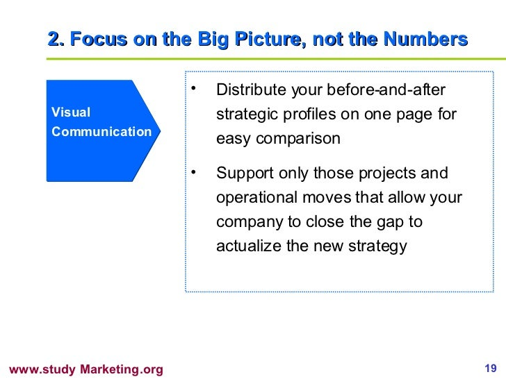 2. Focus on the Big Picture, not the Numbers Visual Communication <ul><li>Distribute your before-and-after strategic profi...