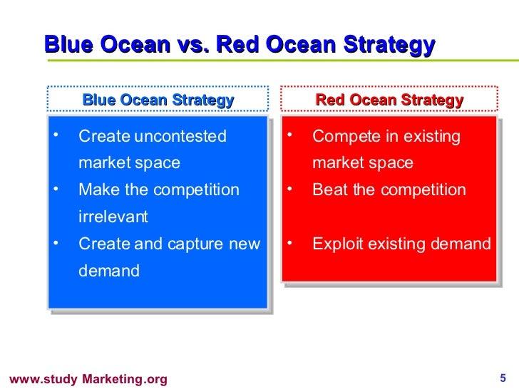 Blue Ocean vs. Red Ocean Strategy <ul><li>Create uncontested market space </li></ul><ul><li>Make the competition irrelevan...