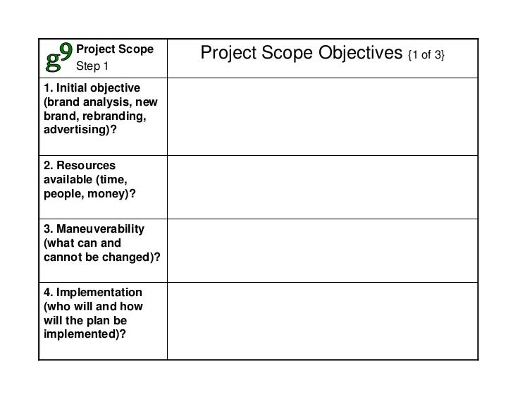 Project Scope                        Project Scope Objectives {1 of 3}      Step 1 1. Initial objective (brand analysis, n...