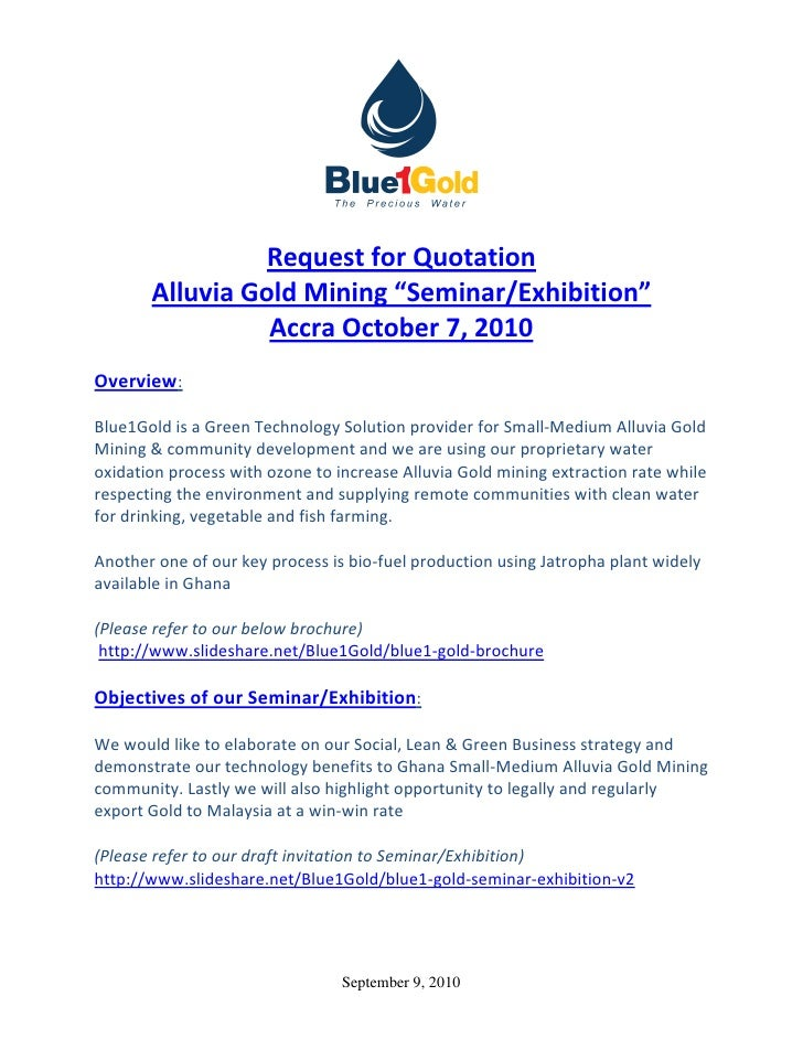"""Request for Quotation        Alluvia Gold Mining """"Seminar/Exhibition""""                  Accra October 7, 2010 Overview:  Bl..."""
