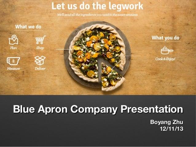 Blue Apron Company Presentation Boyang Zhu 12/11/13