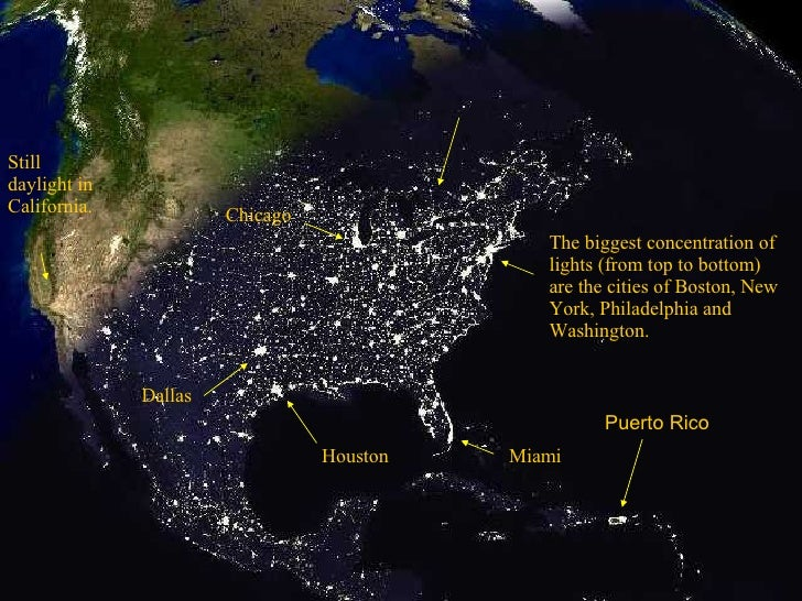 The biggest concentration of lights (from top to bottom) are the cities of Boston, New York, Philadelphia and Washington. ...