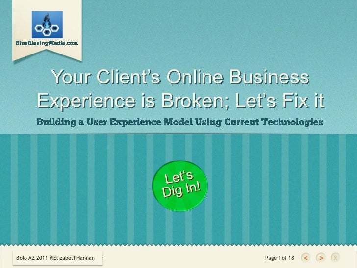 Your Client's Online Business       Experience is Broken; Let's Fix itBolo AZ 2011 @ElizabethHannanDoeBolo AZ 2011    | Au...