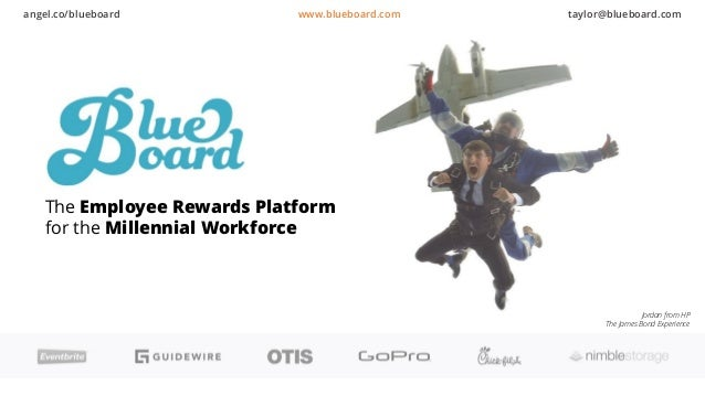 The Employee Rewards Platform for the Millennial Workforce Jordan from HP The James Bond Experience angel.co/blueboard www...