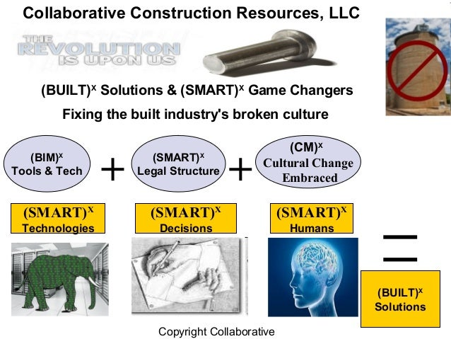 Copyright Collaborative(SMART)XLegal Structure(BIM)XTools & Tech(CM)XCultural ChangeEmbraced(BUILT)XSolutions(BUILT)XSolut...