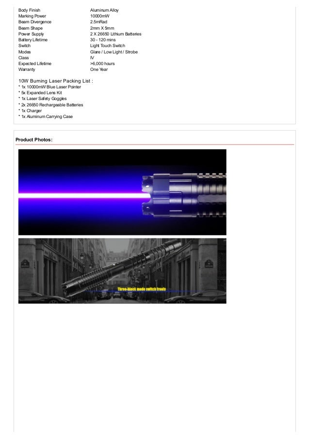 Blue Burning Laser Pointer 10000mw