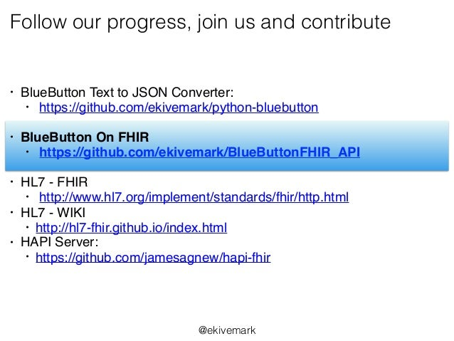 BlueButton On FHIR Presentation to Attachments Work Group at