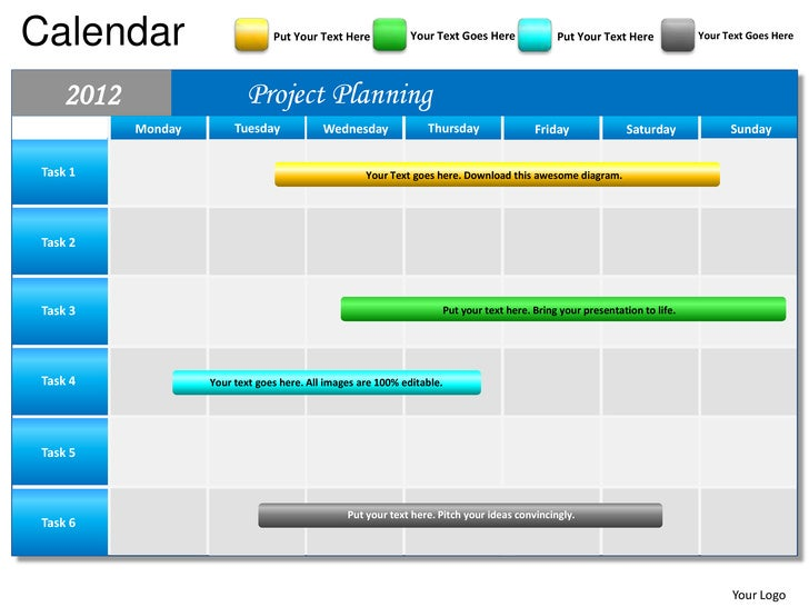 Blue Calendar 2012 Powerpoint Presentation Templates