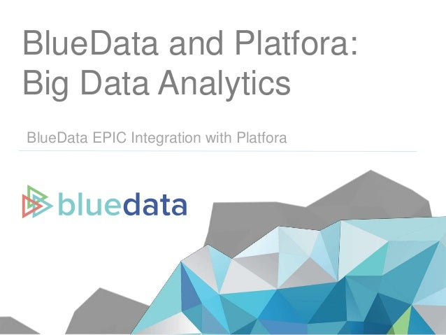 BlueData and Platfora: Big Data Analytics BlueData EPIC Integration with Platfora