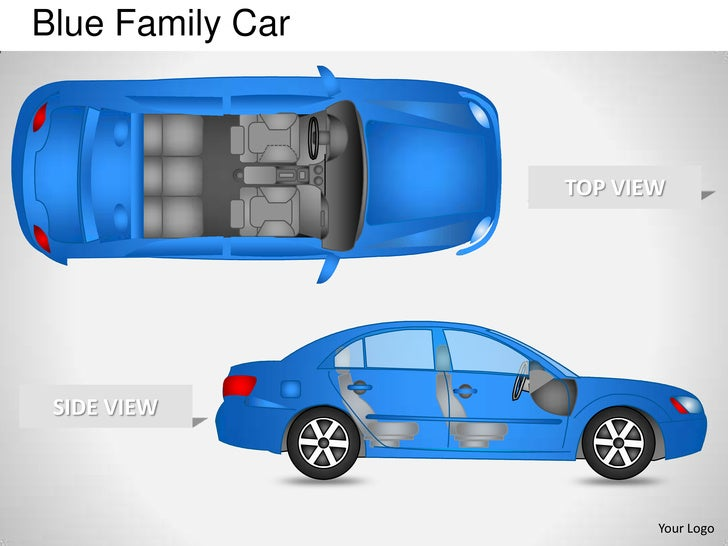 Blue Family Car                  TOP VIEW SIDE VIEW                         Your Logo