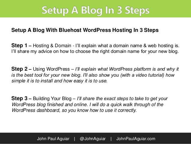 Tutorial: How To Setup A Blog With Bluehost WordPress Hosting