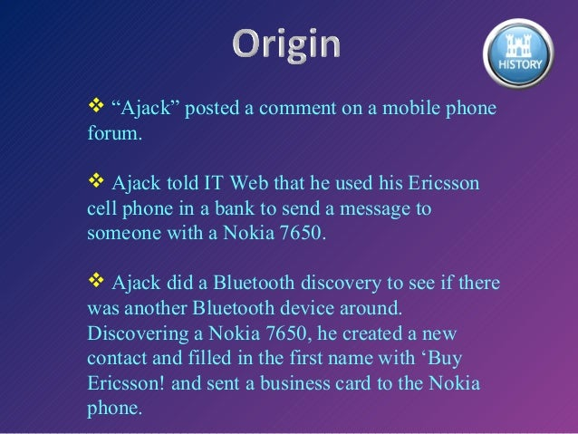introduction to bluejacking Bluejacking definition - bluejacking is a hacking method that allows an individual to send anonymous messages to bluetooth-enabled devices within a.