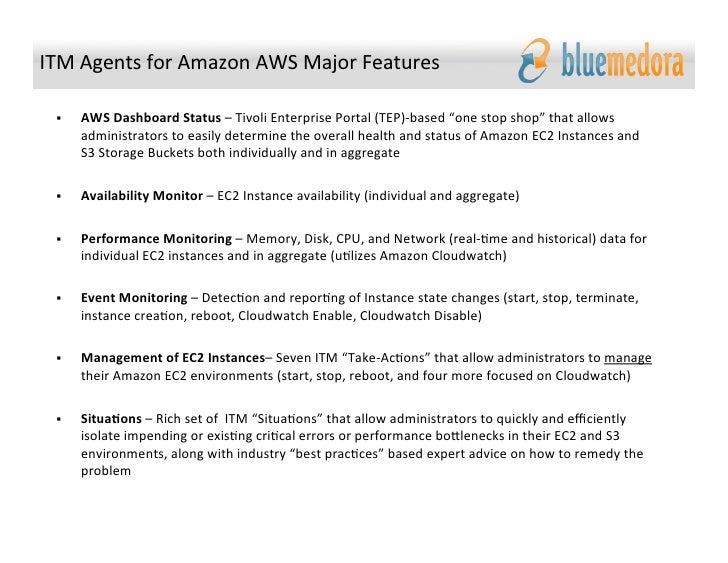 blue medora ibm tivoli monitoring itm agents for amazon ec2 and s3