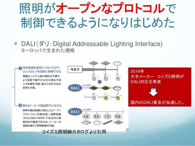 照明がオープンなプロトコルで 制御できるようになりはじめた  DALI(ダリ:Digital Addressable Lighting Interface) ヨーロッパで生まれた規格 コイズミ照明㈱カタログより引用 2014年 大手メーカー ...