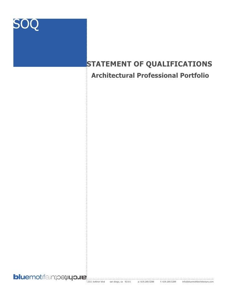 SOQ        STATEMENT OF QUALIFICATIONS          Architectural Professional Portfolio           2311 kettner blvd   san die...