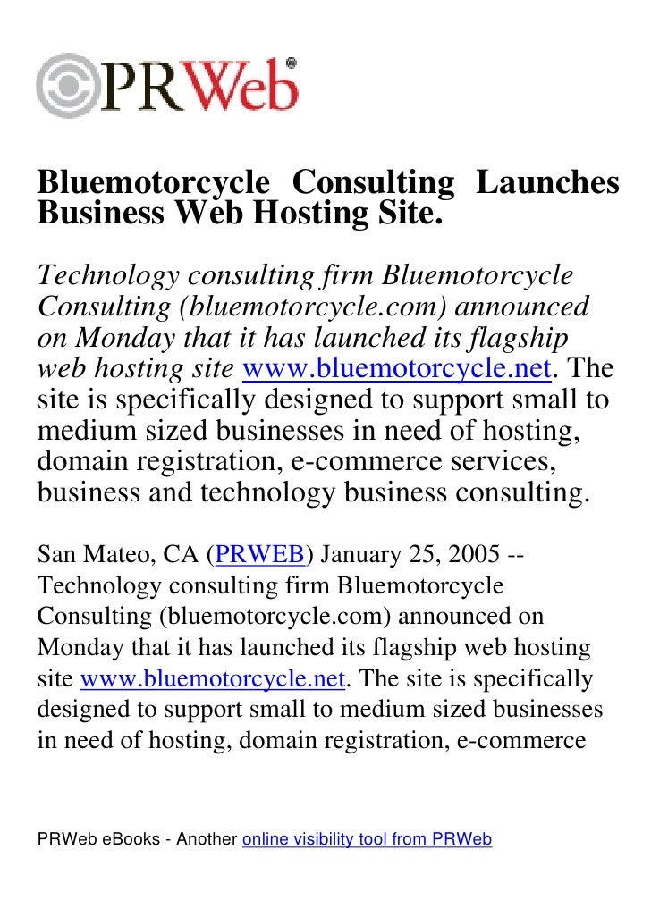 Bluemotorcycle Consulting Launches Business Web Hosting Site. Technology consulting firm Bluemotorcycle Consulting (bluemo...