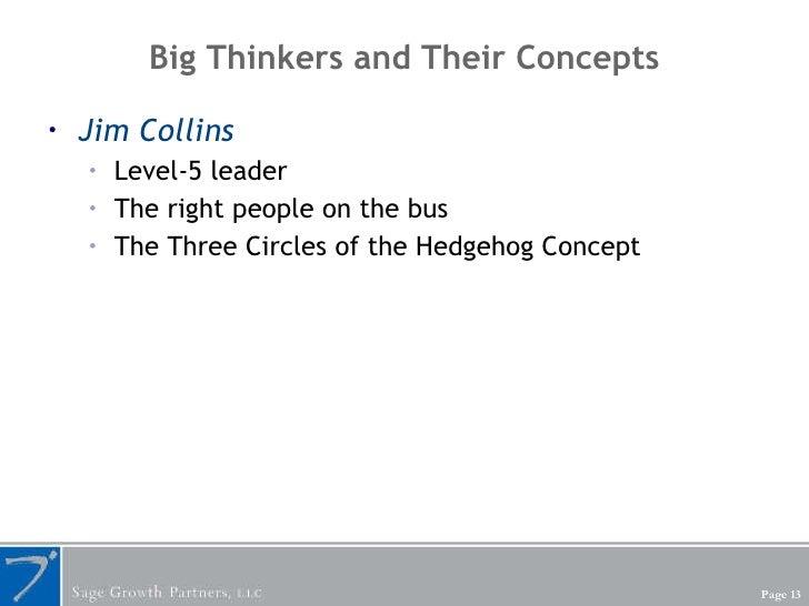 Big Thinkers and Their Concepts <ul><li>Jim Collins </li></ul><ul><ul><li>Level-5 leader </li></ul></ul><ul><ul><li>The ri...