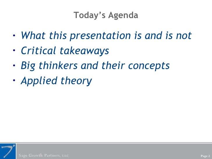 Today's Agenda <ul><li>What this presentation is and is not </li></ul><ul><li>Critical takeaways </li></ul><ul><li>Big thi...
