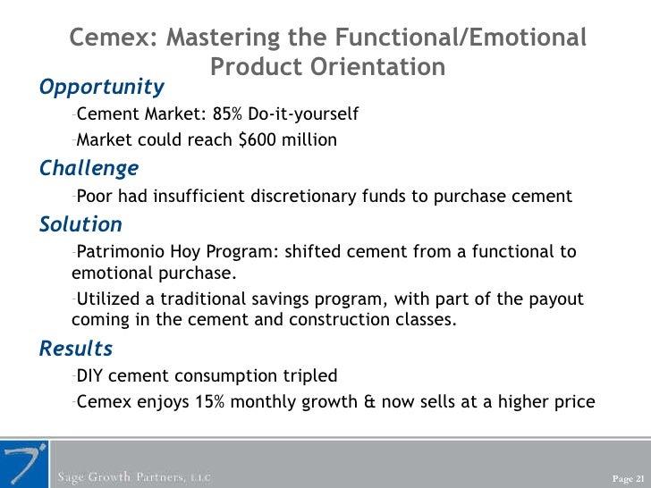 Cemex: Mastering the Functional/Emotional Product Orientation <ul><li>Opportunity </li></ul><ul><ul><li>Cement Market: 85%...