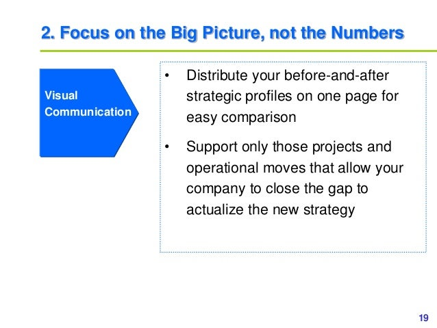 19www.study Marketing.org 2. Focus on the Big Picture, not the Numbers Visual Communication • Distribute your before-and-a...