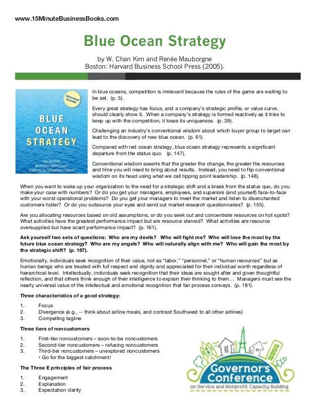 www.15MinuteBusinessBooks.com  Blue Ocean Strategy by W. Chan Kim and Renée Mauborgne Boston: Harvard Business School Pres...