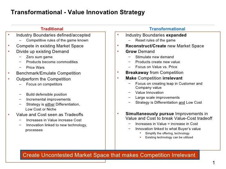 Transformational - Value Innovation Strategy <ul><li>Industry Boundaries defined/accepted </li></ul><ul><ul><li>Competitiv...