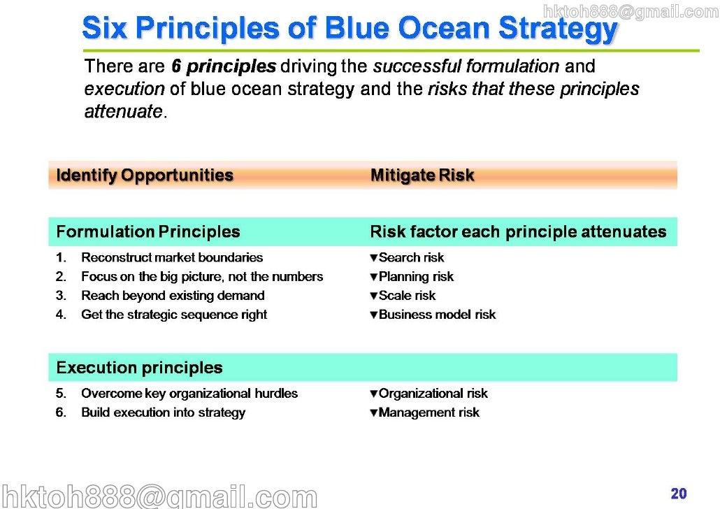 blue ocean strategy summary Blue ocean strategy and blue ocean strategy: from theory to practice, both authored by w chan kim and renee mauborgne, identify industries by metaphoric ocean environments – red ocean versus blue ocean.