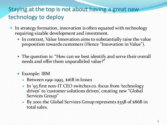Staying at the top is not about having a great newtechnology to deploy In strategy formation, innovation is often equated...