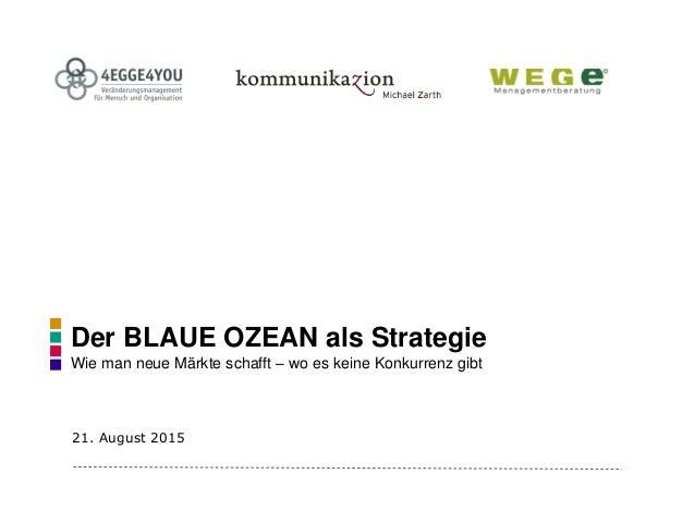 Der BLAUE OZEAN als Strategie Wie man neue Märkte schafft – wo es keine Konkurrenz gibt 21. August 2015