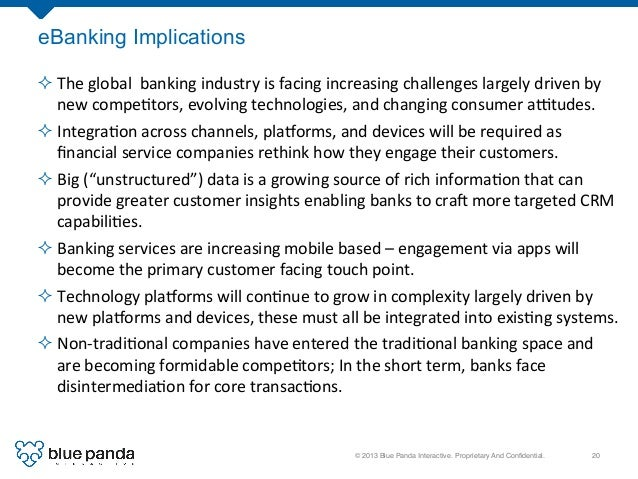 © 2013 Blue Panda Interactive. Proprietary And Confidential.! 20! eBanking Implications ²The  global    banking  ...