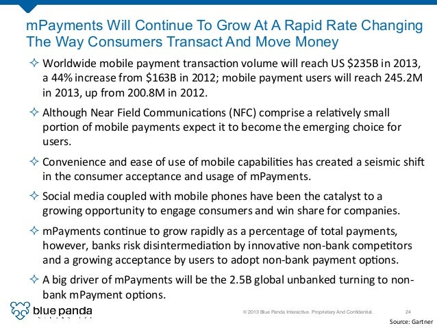 © 2013 Blue Panda Interactive. Proprietary And Confidential.! 24! mPayments Will Continue To Grow At A Rapid Rate Changing ...